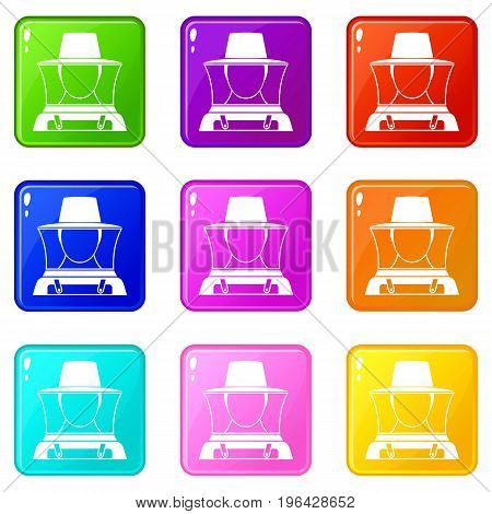 Beekeeper icons of 9 color set isolated vector illustration