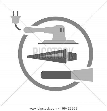 Tools needed for painting door vector symbol or logo