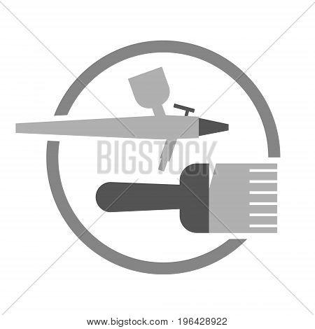 Vector painting preparation gray symbol or logo
