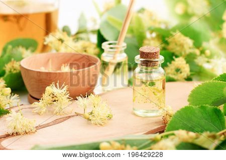 Herbal treatment. Bottle of aromatic essential oil, linden tree blossom flowers preparation, fresh green and yellow.