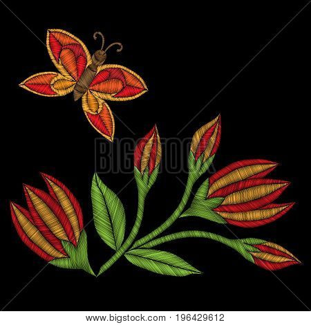 Embroidery stitches imitation folk flower with leaf and butterfly. Fashion embroidery flower on black background. Embroidery flower vector.