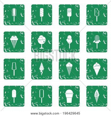 Ice cream icons set in grunge style green isolated vector illustration