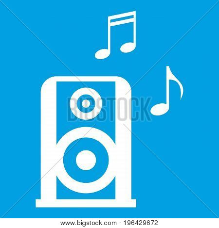 Portable music speacker icon white isolated on blue background vector illustration