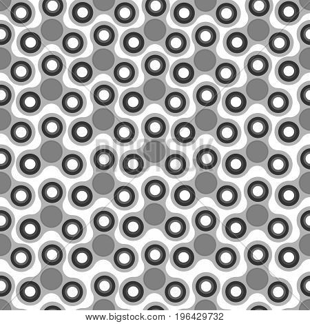 Hand Spinners Seamless pattern. Vector illustration on white background. Monochrome background