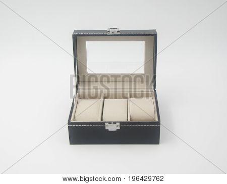 Jewelry Box Or Black Leather Jewelery Box On Background.