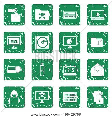 Criminal activity icons set in grunge style green isolated vector illustration