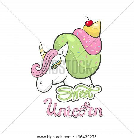 Vector unicorn, icon isolated, cartoon illustration. Head portrait horse, sticker, print a child's T-shirt, hand drawing of the lettering.