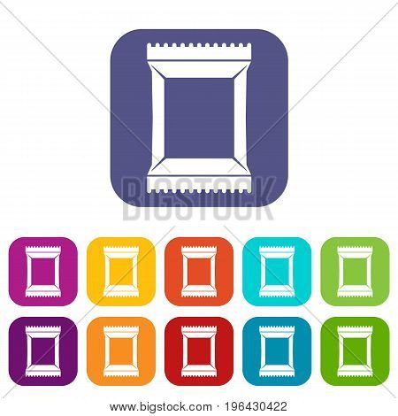 Napkins pack icons set vector illustration in flat style in colors red, blue, green, and other