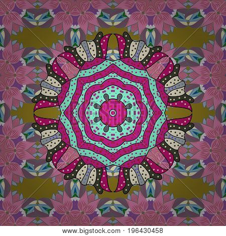 Hand-drawn colored mandala on a colorful background. Vector abstract pattern.