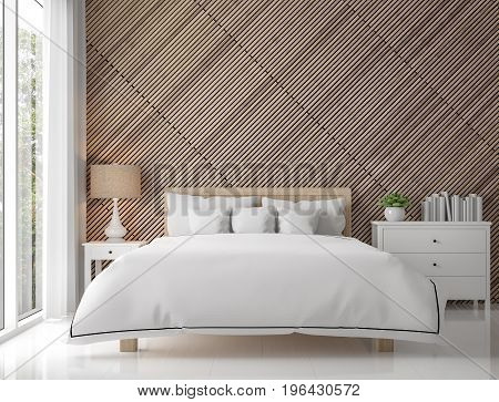 Modern contemporary bedroom interior with wood lattice 3d rendering image.There are white floor decorate wall with wooden lattice.There are large windows look out to see the nature