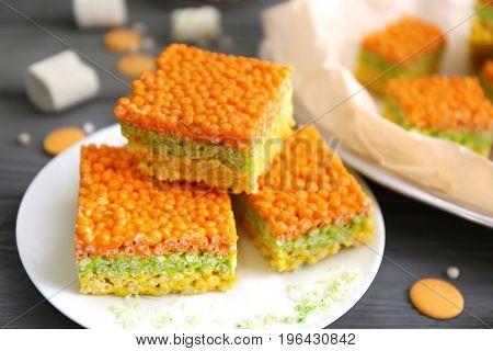 Rice crispy treats on plate