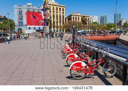 Barcelona, Spain - April 21: View Of Promenade Seafront Near Boulevard Rambla In Barcelona, Spain 21