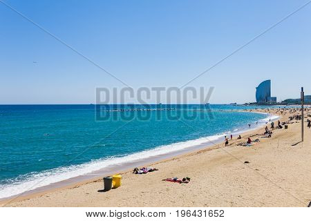 Barcelona, Spain - April 21: View Of Beach, Promenade, Seafront And Marina In Barcelona, Spain 21 Ap