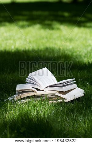 vertical side view of many open books on top of each other standing on green grass in park in the shadows of the trees