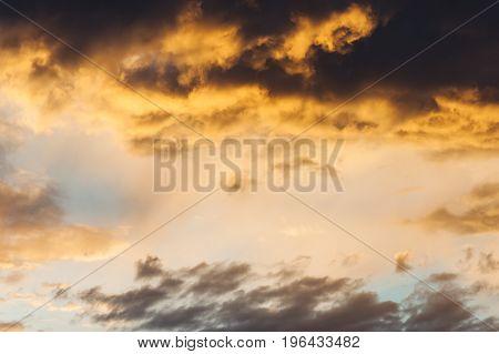 Red orange fiery sky. Sunset. Sunrise. Art.