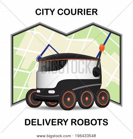 Robot dron delivers the parcel. The concept of fast, free delivery, gift. Vector illustration poster