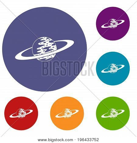 Saturn icons set in flat circle red, blue and green color for web