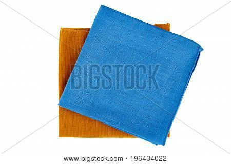 Blue and green textile napkins isolated on white background