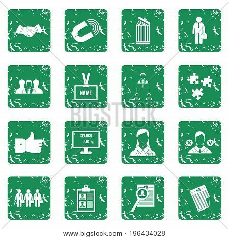 Human resource management icons set in grunge style green isolated vector illustration