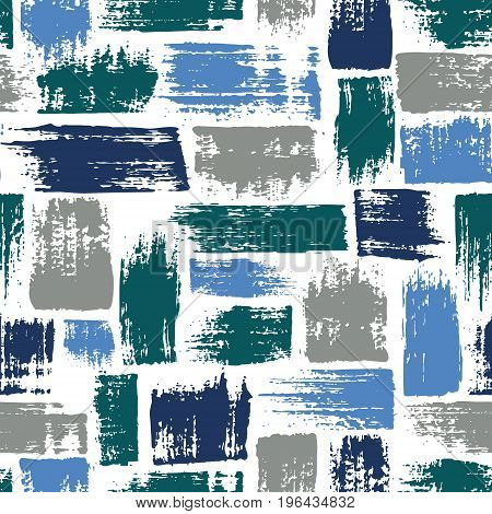 Vector seamless pattern with brush stripes and strokes. Blue color on white background. Hand painted grange texture. Ink geometric elements. Fashion modern style. Endless fabric unusual print