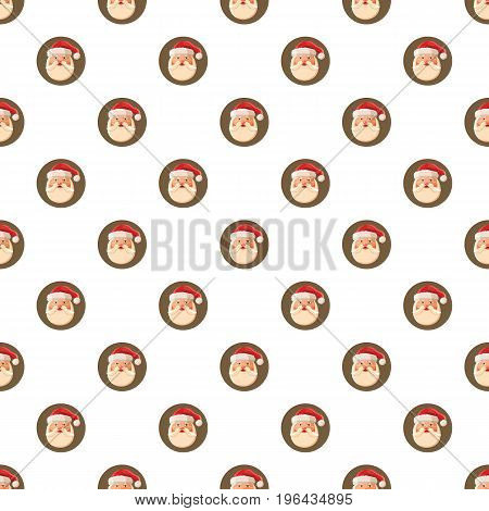 Santa claus face pattern seamless repeat in cartoon style vector illustration