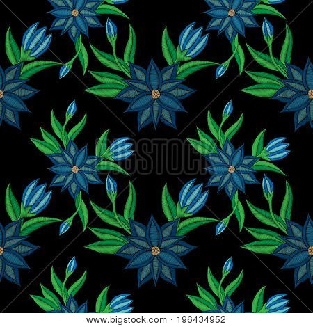 Embroidery stitches imitation seamless pattern with folk blue flower with green leaf. Fashion embroidery flower on black background. Embroidery flower vector.