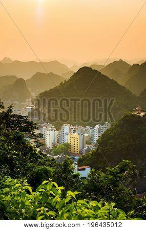 Sunset Over Cat Ba Island Of Vietnam, Asia