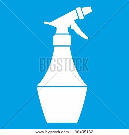 Spray bottle for flower icon white isolated on blue background vector illustration