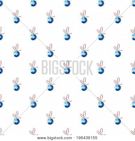 Blue christmas ball pattern seamless repeat in cartoon style vector illustration