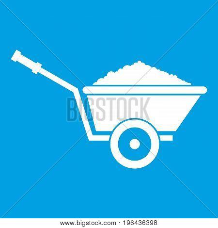 Garden wheelbarrow icon white isolated on blue background vector illustration