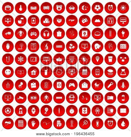 100 app icons set in red circle isolated on white vector illustration