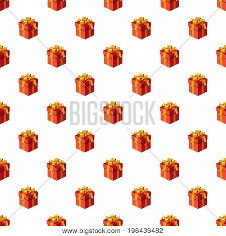 Gift box with ribbon and bow pattern seamless repeat in cartoon style vector illustration