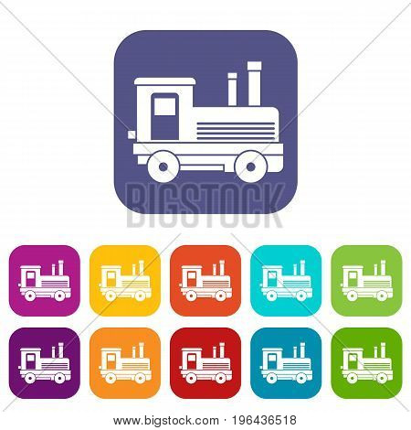 Locomotive icons set vector illustration in flat style in colors red, blue, green, and other