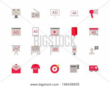 Advertising set of color icons, flat style