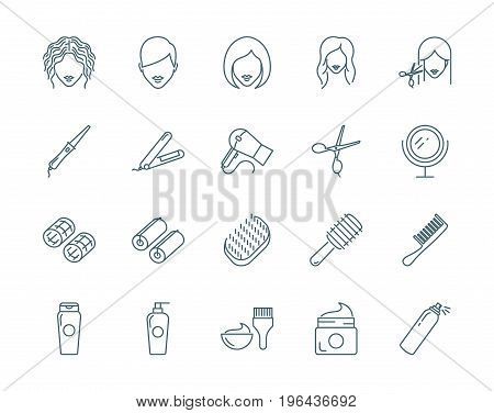 Haircut, hairdressing set of vector icons, linear style