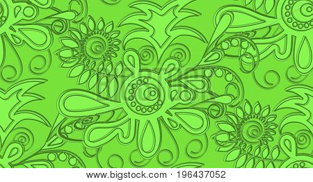 Pattern seamless relief abstract in green tones. For fabrics, drapes, wallpapers.EPS10
