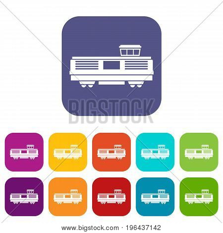 Freight train icons set vector illustration in flat style in colors red, blue, green, and other