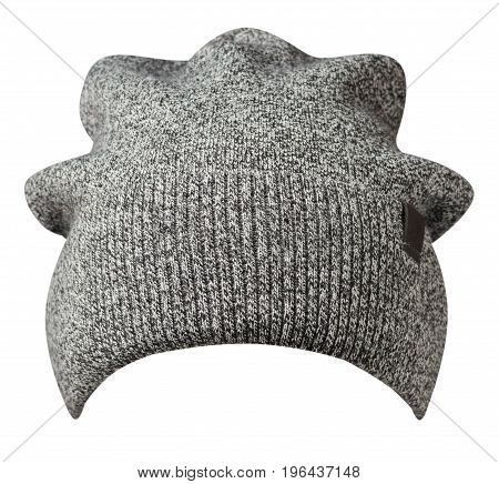 Hat Isolated On White Background .knitted Hat. Gray Hat