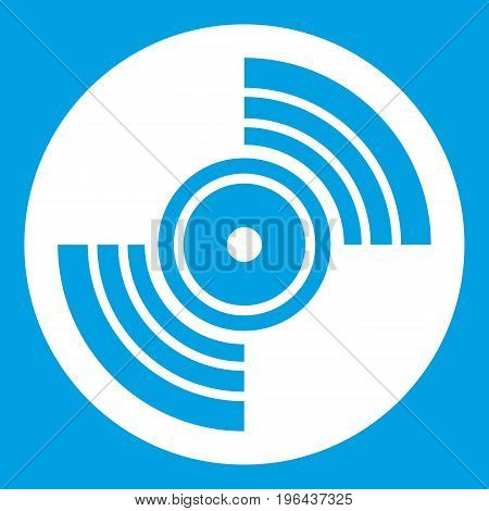 Gramophone vinyl LP record icon white isolated on blue background vector illustration