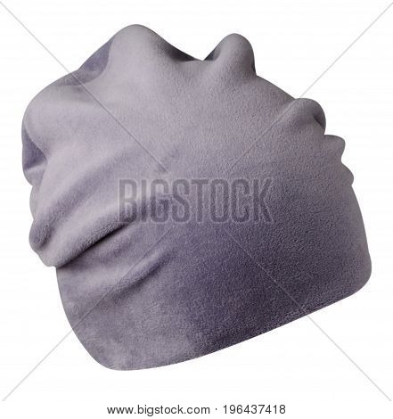 Women's Hat . Knitted Hat Isolated On White Background . Gray Hat