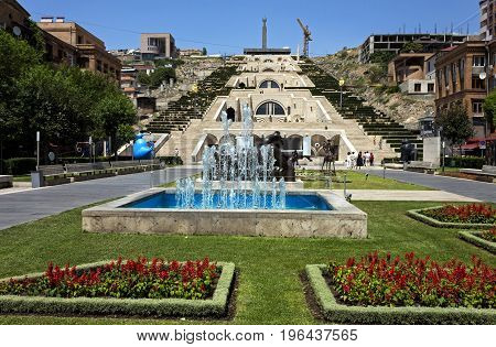 Yerevan,Armenia - July 12,2017:Cascade - a big beautiful staircase and one of the sights of the city of Yerevan,the capital of Armenia, one of the oldest cities in the world.