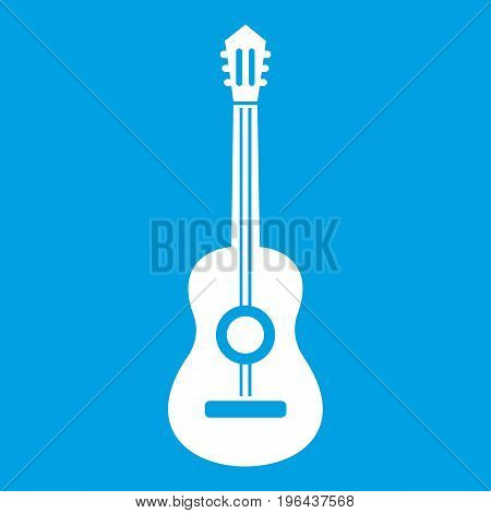 Classical guitar icon white isolated on blue background vector illustration