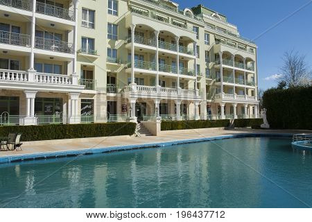 SAINTS CONSTANTINE AND HELENA, BULGARIA - APRIL 02, 2015: hotel Romance in Saints Constantine and Helena, the first oldest resort of Bulgaria, exist from 19 century.