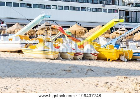 Pedal Catamarans For Active Recreation On Sand Beach