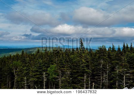 Distant lonely mountain with a big forest! Quebec, Canada.