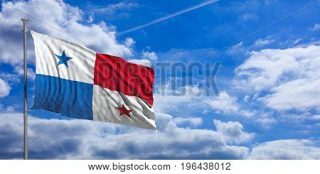 Panama Waving Flag On Blue Sky. 3D Illustration