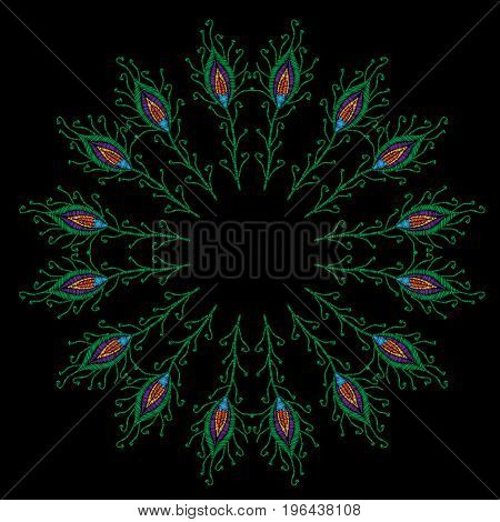 Round frame peacock feathers embroidery stitches imitation. Template for fabric textile or print. Fashion peacock feathers embroidery. Vector embroidery feather on black background.