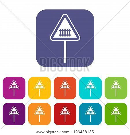 Warning road sign icons set vector illustration in flat style in colors red, blue, green, and other