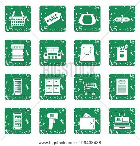 Supermarket icons icons set in grunge style green isolated vector illustration