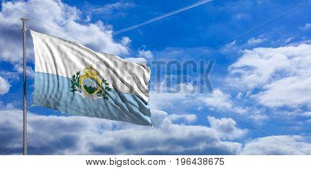 San Marino Waving Flag On Blue Sky. 3D Illustration